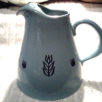 Cronin Pottery Pitcher and Creamer /Cameron Clay Products W.VA./ Blue Tulip Design/ Circa 1950's-60's
