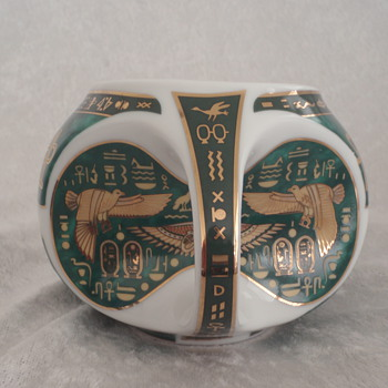 Egyptian Tea Cup w/ Hieroglyphics - Fine Royal Porcelain Sculpture