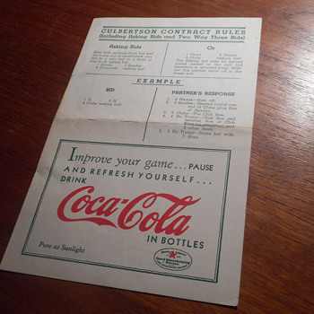 1936 Coca-Cola pamplet on Bridge Card Game Rules