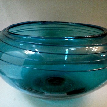 "Large 11.5"" Teal Console Bowl With Applied Threading /Unknown Maker and Age - Art Glass"