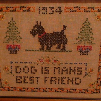 """Dog Is Man's Best Friend"" 1934 Cross Stitch Framed - Animals"