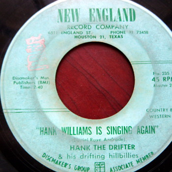 "Hank The Drifter & his drifting hillbillies 45rpm ""I,m Gonna' Spin My Wheels"""