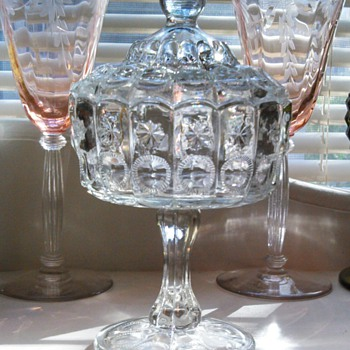 Unknown footed/lidded Compote sun/star pattern? - Glassware