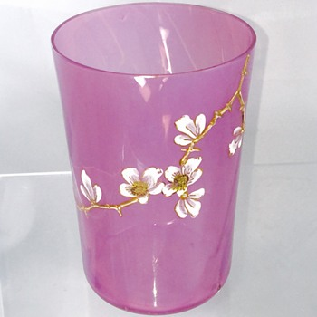 Rare Early Loetz Cherry Blossom Enamelled Pink Heliotrope Tumbler Cup