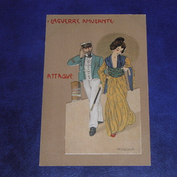 Pre-1914, Art Nouveau Postcard, Raphael Kirchner.