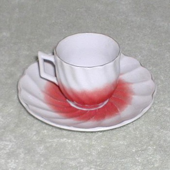 Red &amp; White demitasse cup &amp; saucer set