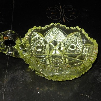 Vaseline Glass Bowl with Handle  EAPG Nucut Circa 1910 - Glassware
