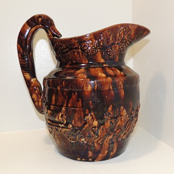 """Hound-Handled Fireman Pitcher."" CONGRESS POTTERY, South Amboy, NJ (1848-1854) - Pottery"