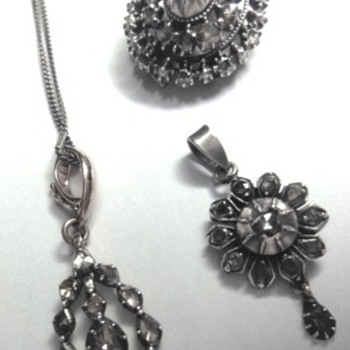 Victorian rose gold/silver pendants and one round brooch
