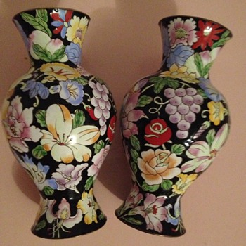 Vintage Floral Painted Brass with Enamel  - Art Pottery