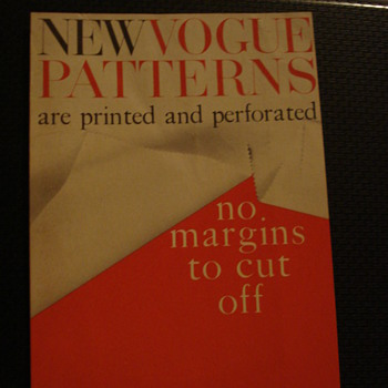 "NEW VOGUE PATTERNS ""1957 VOGUE"" NEW REVISE MEASUREMENT CHART - Paper"