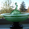 Art Deco Uranium Green Centre Piece Boy riding Fish