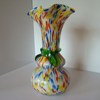 Bohemian(?) spatter glass vase with a floral ribbon