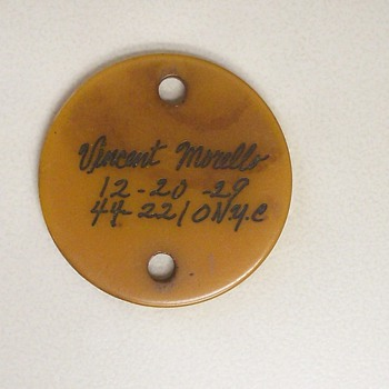 Strange Signed Button: Vincent Morello /  12 - 20 - 29 / 44-2210  NYC