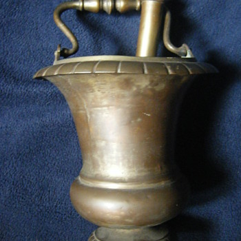 Antique 18th/19th century- Bronze Holy-Water-Bucket-Sprinkler-Set-Aspergillum-set-chalice