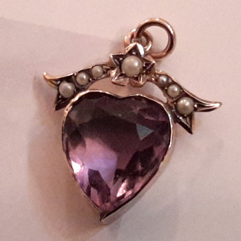 Antique Victorian amethyst heart pendant - Fine Jewelry