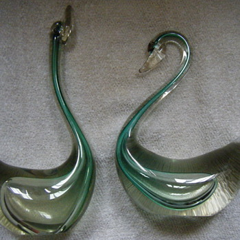 Pair of Citrus Green Murano Glass Swans SEGUSO? - Art Glass