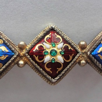 RARE EARLY 19TH C FRENCH BRESSAN ENAMEL VERMEIL BROOCH