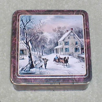 Christmas Cookie Tin - Winter Scene - Christmas