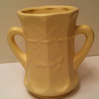 Yellow Matte Cherry and Cable Spooner Cup Vase - Art Pottery