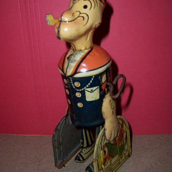 1930&#039;s Marx Popeye Tin Birdcage Walker