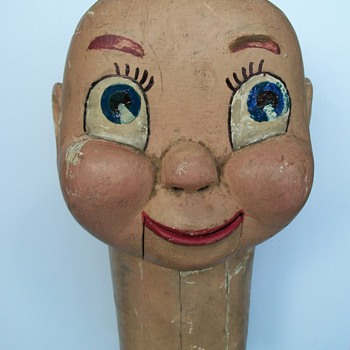 Folk Art Ventriloquist Handmade Wooden Figure Head Dummy - Folk Art