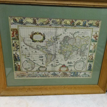 HAND COLORED WORLD MAP
