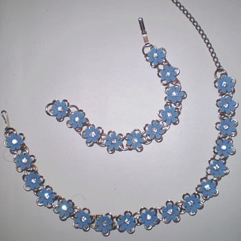 Blue Flower Necklace and Bracelet Set - Costume Jewelry