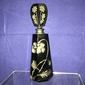 Czech Deco Moser? Intaglio Black Carved Perfume Bottle