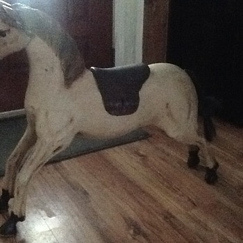 Antique solid HEAVY wood horse - Animals