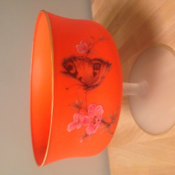 Mystery Neon orange frosted glass footed dish with gold trim