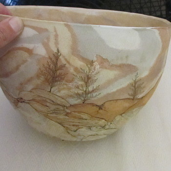 Large art pottery scenery bowl signed