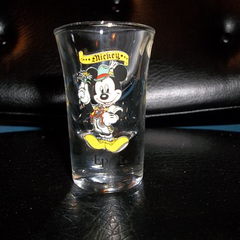 Mickey Epcot Center German attire Bockling Germany shot glass - Advertising