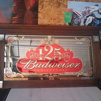 Budweiser 125th Anniversary Mirror - Breweriana