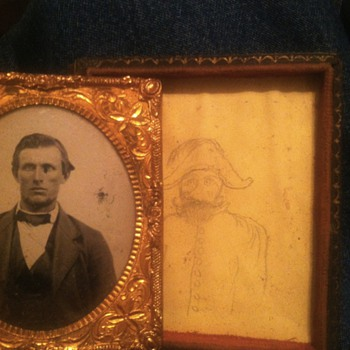 Tintype on clear glass with drawing hidden underneath - Photographs