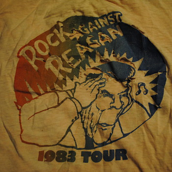 1983 Rock Against Reagan T Shirt - Mens Clothing