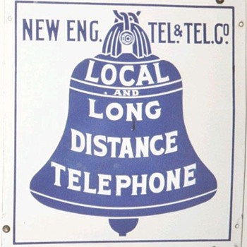 New Eng. Tel. &amp; Tel. Co. Local and Long Distance Telephone Porcelain Sign