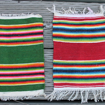 Two small native american rugs 9 1/2 inch by 6 1/2 inch. - Rugs and Textiles