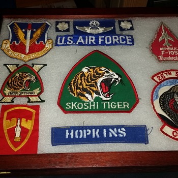 grandfathers airforce patch collection, original photo - Military and Wartime