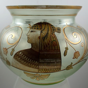 Fritz Heckert, Petersdorf - Egyptian revival enameled glass bowl, ca. 1895 - Art Glass