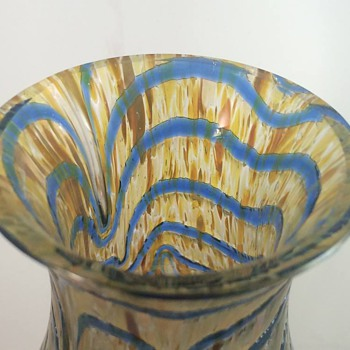 "Kralik Blue & Gold Wave Iridescent Vase 8.5"" Replacement :) - Art Glass"
