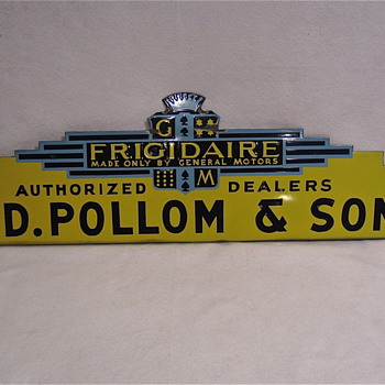 Porcelain FRIGIDAIRE Topper sign, for a larger neon sign