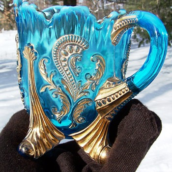 Northwood Inverted Fan & Feather Blue Creamer