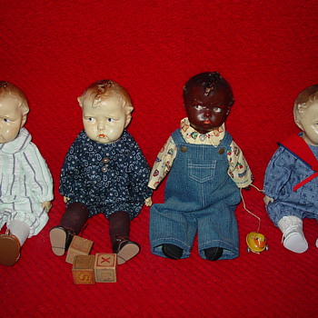 My Four Antique Effanbee Baby Grumpy Dolls - Dolls