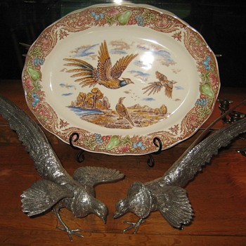 Vintage Silver Plated Pheasants and Pheasant Platter - China and Dinnerware