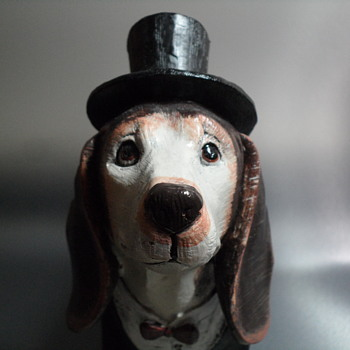 Resin Cast Dog with Top Hat and Jacket