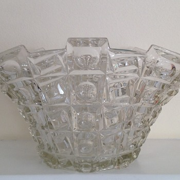 Libochovice pressed glass centrepiece bowl - Art Glass