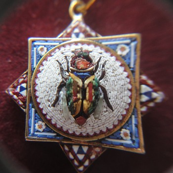 Awesome 18 K Micro Mosaic Octagonal Scarab Beetle Pendant - Fine Jewelry