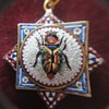 Awesome 18 K Micro Mosaic Octagonal Scarab Beetle Pendant