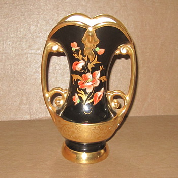 Abingdon Art Nouveau Black & Gold Double Handle Urn. #522 Signed 1930's